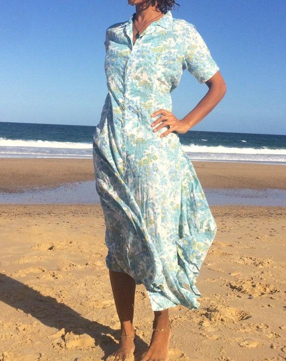 Vintage 80s Anokhi Button Down Dress, Lightweight