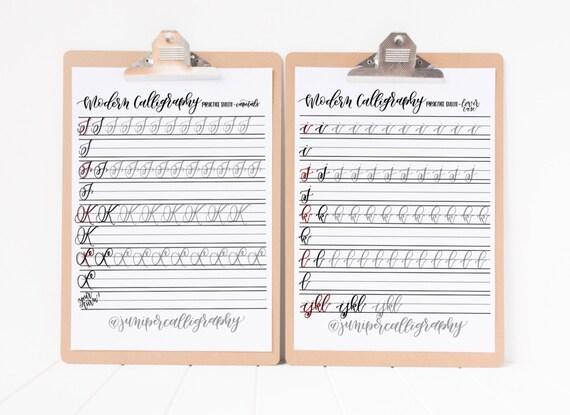 Moderne Kalligraphie Praxis Arbeitsblätter Großbuchstaben | Etsy