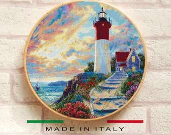Lighthouse Cross Stitch Pattern PDF, Embroidery Chart Cute Nursery Wall Decor, Landscape Easy Counted Cross Stitch Chart, Instant Download