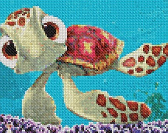 TURTLE Finding Nemo Cross Stitch Pattern PDF, Disney Embroidery Chart, Cute Nursery Wall Decor, Counted Cross Stitch Chart, Instant Download