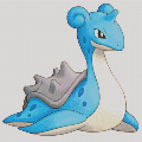 LAPRAS POKEMON Cross Stitch Pattern PDF Embroidery Chart | Etsy