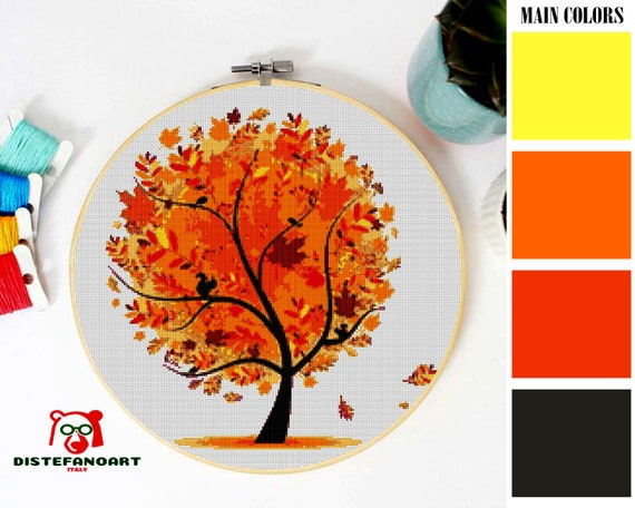 Fall Tree Cross Stitch Pattern Pdf Embroidery Chart Cute Wall Decor Yellow Fall Autumn Leaves Counted Cross Stitch Chart Instant Download