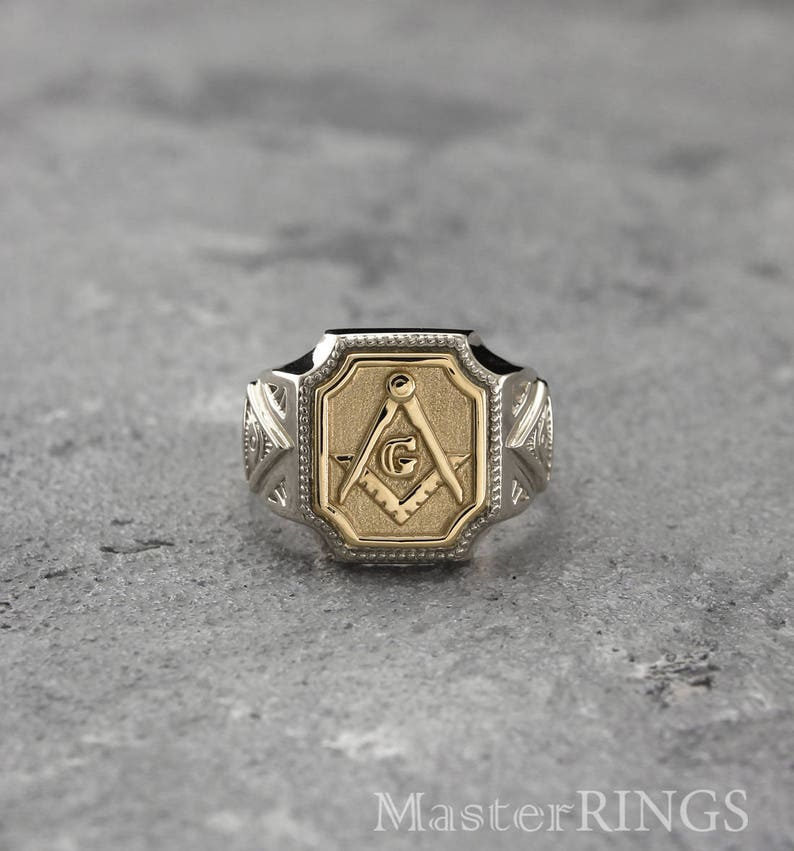 Masonic mixed metals signet ring, Mens all-seeing eye ring, Silver/gold  masonic ring, Unique masonic signet ring, Men's ring, Masonic gift