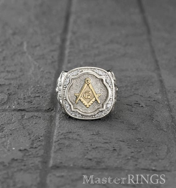 Masonic Gold and Silver signet ring in antique style, Men's masonic ring,  Mens unique signet ring, Freemason ring, Unique masonic gift