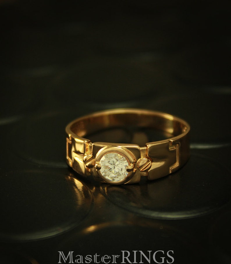 Unique Gold Signet Ring Gold Signet Ring Men Gold Ring Cz Etsy