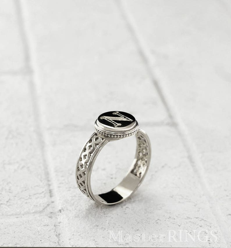 fa4491a5e1af8 Initial silver ring, Men's silver ring for little finger, Mens initial  ring, Round silver ring, Little finger ring, Gift for boyfriend