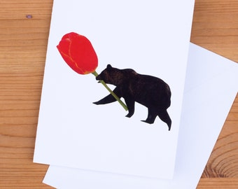 Card - Bear Flower