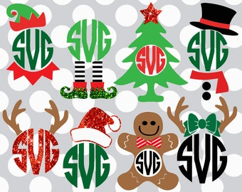 christmas svg bundle monogram svg set christmas monogram svg monogram svg files christmas svgs santa eps dxf cut file - Christmas Monograms