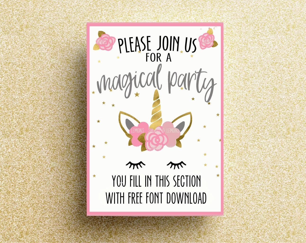 Unicorn Printable Birthday Invitation Unicorn Invitations | Etsy