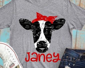 Cow SVG, Heifer svg, bandana, svg, grunge svg, Farm svg, SVG, eps, dxf, Clip art, scarf svg, cow shirt, distressed svg, shortsandlemons