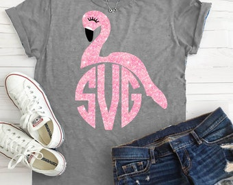 Flamingo svg, Flamingo party, Pineapples and flamingos party, DXF, flamingo cut file, birthday svg, monogram svg, birthday, flamingo, svg