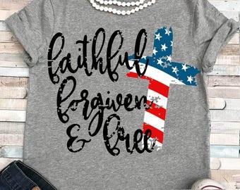 USA svg, Flag svg, Faithful forgiven and free svg, American Flag svg, 4th of July svg, grunge flag svg, Memorial Day SVG, dxf, EPS, Fourth