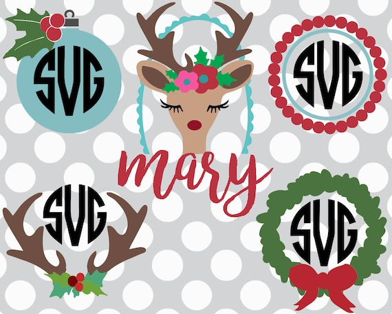 Christmas Svgs Christmas Monogram Set Deer Svg Clip Art Etsy