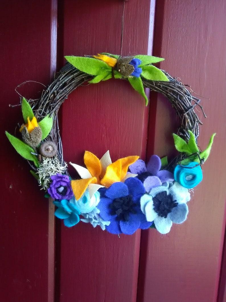 Summer decoration unique for d door Flower fairy wreath Spring door wreath Summer wreath twigs and flowers wreath