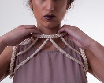 12. CLIO HARNESS-    one of a kind/ Cream white choker shoulder necklace/ cream/white luxury fringe harness bra/body chain/body harness