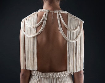 16. THEIA NECKPIECE-   Cream white double Shoulder Necklace/ lux fringe capelet/ fringed collar top/ tribal shawl/ open cup bra