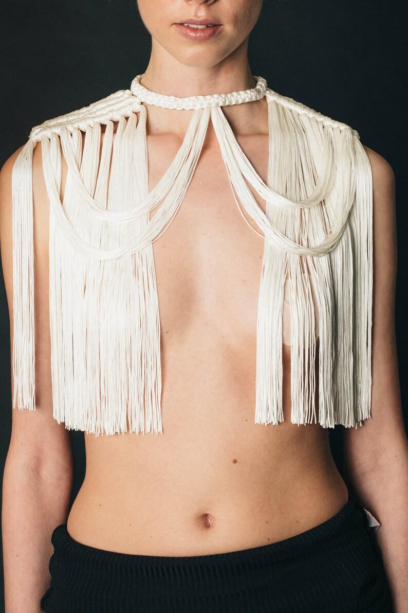 THEIA NECKPIECE Cream white shoulder necklace fringed crop top tribal festival costume crochet macrame neckpiece  unique boho festival