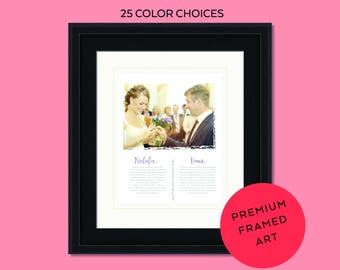 Framed wedding vows, wedding vow art, wedding vows print, wedding photo print, 1st anniversary, wedding vow keepsake, framed vows. wedding