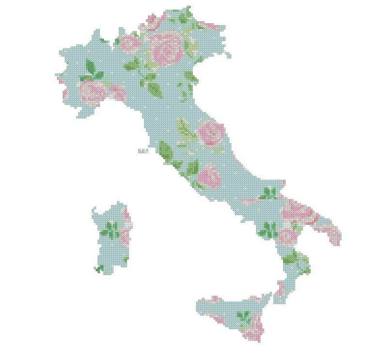Pdf Map Of Italy.Italy Map Cross Stitch Pattern Modern Floral Silhouette Pattern Pdf Flowers Italy Cross Stitch Pattern 54