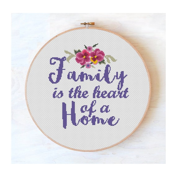 Cross stitch pattern Most important thing is family family cross stitch #40 floral cross stitch cross stitch quote PDF