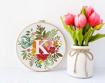 Letter K, cross stitch pattern monogram letter, floral cross stitch flowers, counted cross stitch pattern alphabet #511