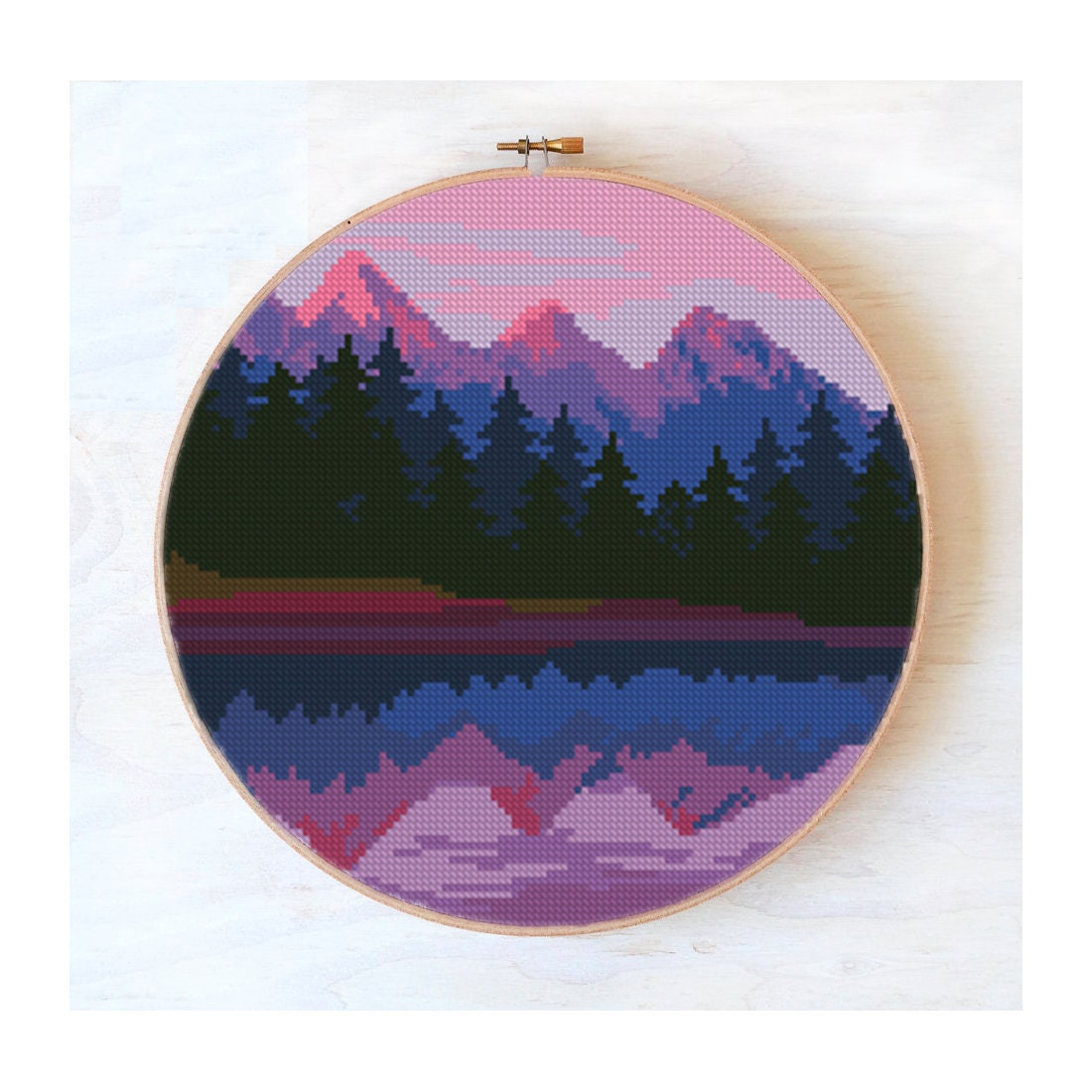 Cross stitch landscape mountains, pink sunset,modern cross stitch lake, nature cross stitch pattern, embroidery hoop art #339