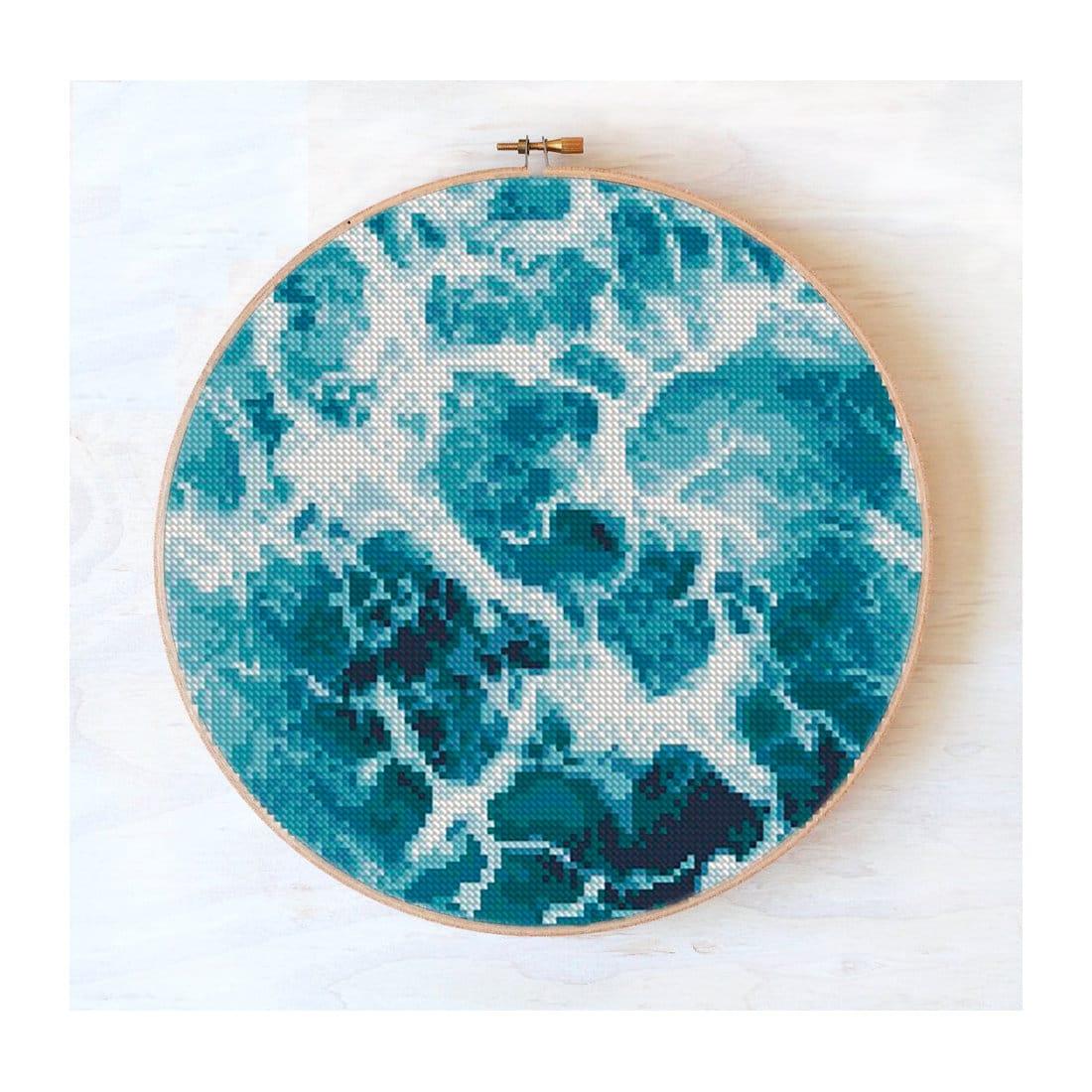 Modern cross stitch pattern ocean wave, nature cross stitch landscape, sea wave, summer cross stitch #485