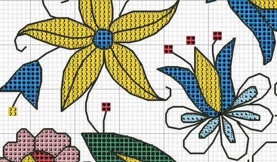 Art Nouveau Flower Leaves Design #15 Counted Cross Stitch Chart Pattern