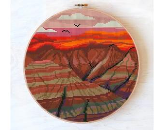Badlands National Park cross stitch pattern, mountains, landscape cross stitch modern,nature cross stitch pattern PDF,burnt orange color#405