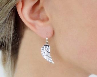925 Sterling Silver Angel Wings Earrings
