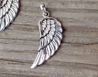 925 Sterling Silver Angel Wing Pendant Necklace