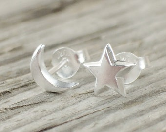 925 Sterling Silver Star and Moon Stud Earrings