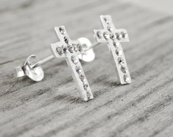 8d8fc3282 925 Sterling Silver and Cristals Christian Cross Stud Earrings