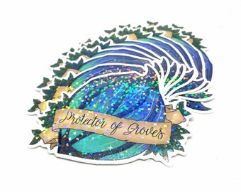 Protector of Groves Ardenweald Holographic Glitter Sticker - Night Fae Woodland Fantasy Laptop Die Cut Sticker - Stationery for Gamers