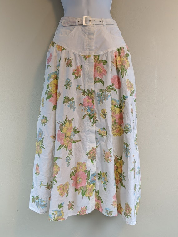 Vintage 80s / Cotton Skirt / Button Down/ with Poc