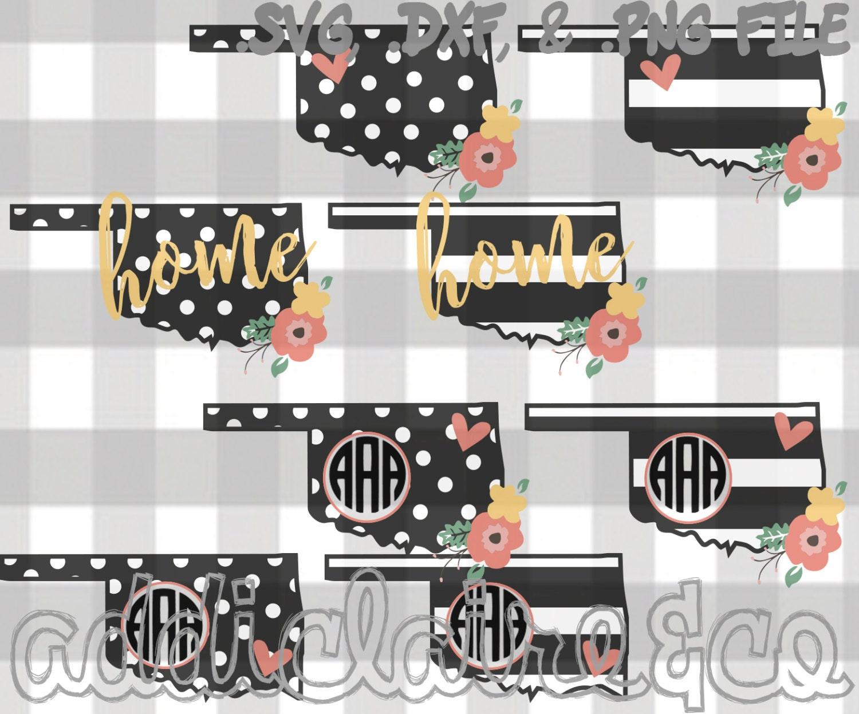 Floral Stripe Polka Dot Monogram Oklahoma Files Svg Png Etsy