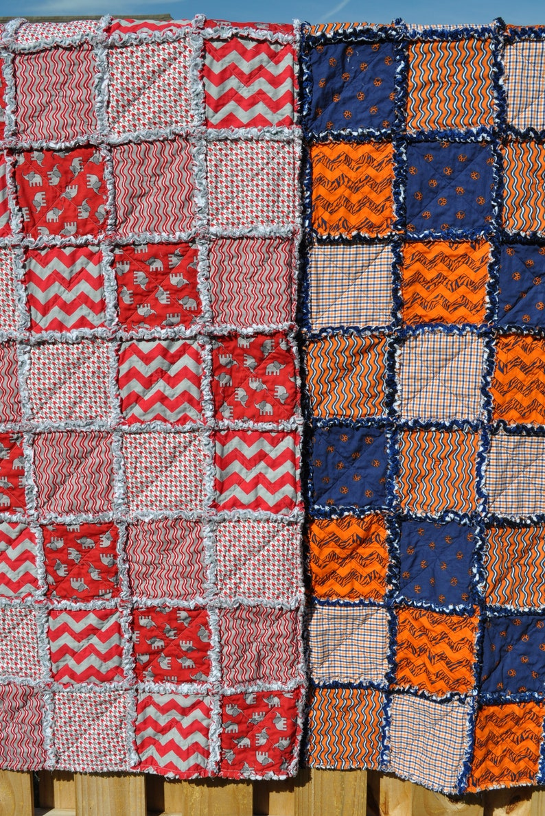 Customization Available Great Christmas Gift! Alabama Rag QuiltAuburn Rag Quilt House Divided Rag Quilt