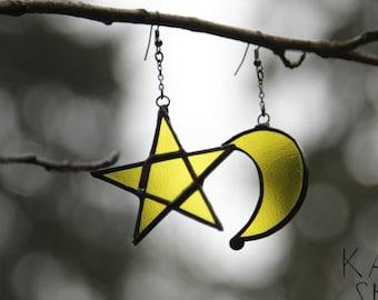 Star&moon earrings, moon jewelry, moon earrings, boho earrings, bohemian earrings, hippie earrings, gypsy earrings, native american earrings