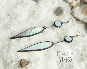 Opal earrings, Boho earrings, Bohemian earrings, hippie earrings, Bohochic earrings, long earrings, Gypsy earrings, Hippy earrings