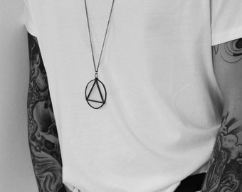 Triangle in circle necklace, mens necklace, geometric necklace, sacred geometry jewelry, triangle necklace, black necklace, witch necklace
