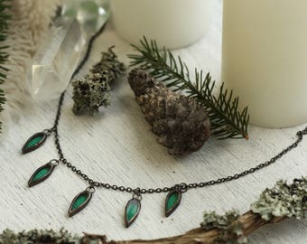 Emerald jewelry, emerald necklace, boho jewelry, boho necklace, hippie jewelry, festival jewelry, gypsy jewelry, witch jewelry, boho choker