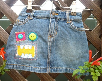 Girls Size 4T | Girls Denim Skirt | Girls Skirts | Monster Jeans By B | Unique | Bright and Colorful | monsterjeansbyB