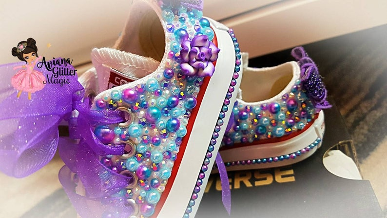 31d3bb39036874 Purple White and Turquoise Bling Converse Rhinestone Shoes
