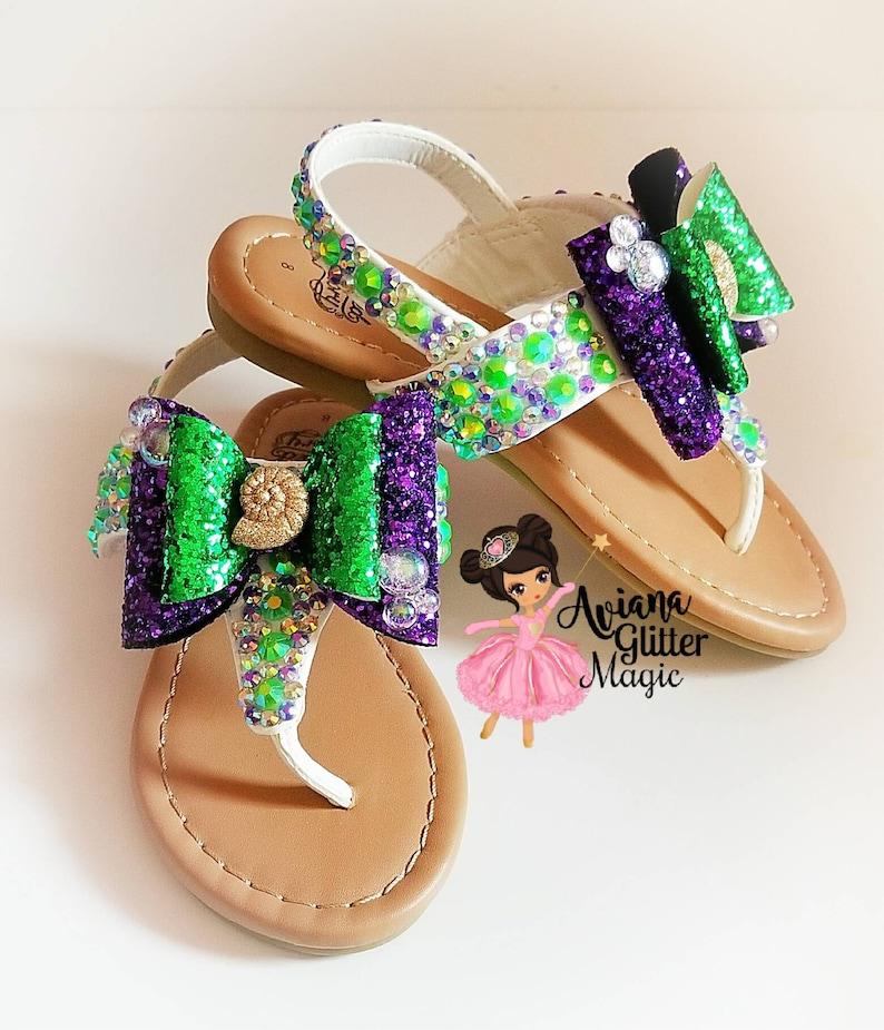 56355fc66652 Mermaid Bling Rhinestone Sandals Purple Sandals Green Sandals