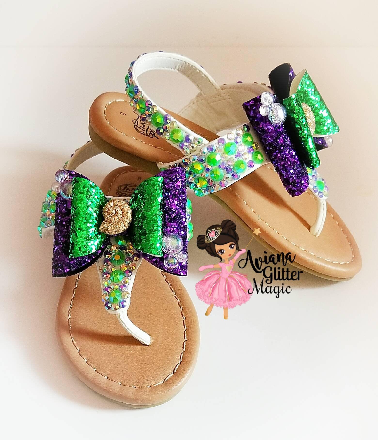 3e3110e6af9ce6 Mermaid Bling Rhinestone Sandals Purple Sandals Green Sandals