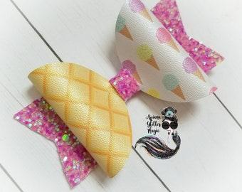 Ice Cream Bow Waffle Cone Bow Purple Bow Glitter Bow Girl Bow