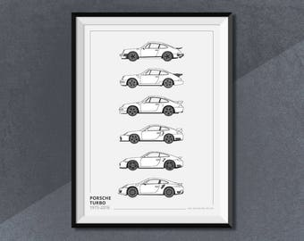 Porsche 911 Turbo Generations Poster Evolution Car Collection Poster Print