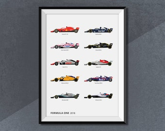 Formula 1 Race Car 2018 Collection Poster Print, F1 Grand Prix Lineup 2018 Poster Art
