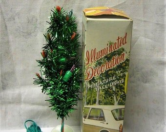 mini christmas tree 12v plug in 1970s tiny lighted tree in box car decoration xmas tree 85 inch tall lights working