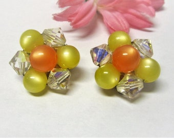 Yellow Moonglow Clip On Earrings 70s Clipons Yellow & Orange Moonglow Lucite Bead Earrings